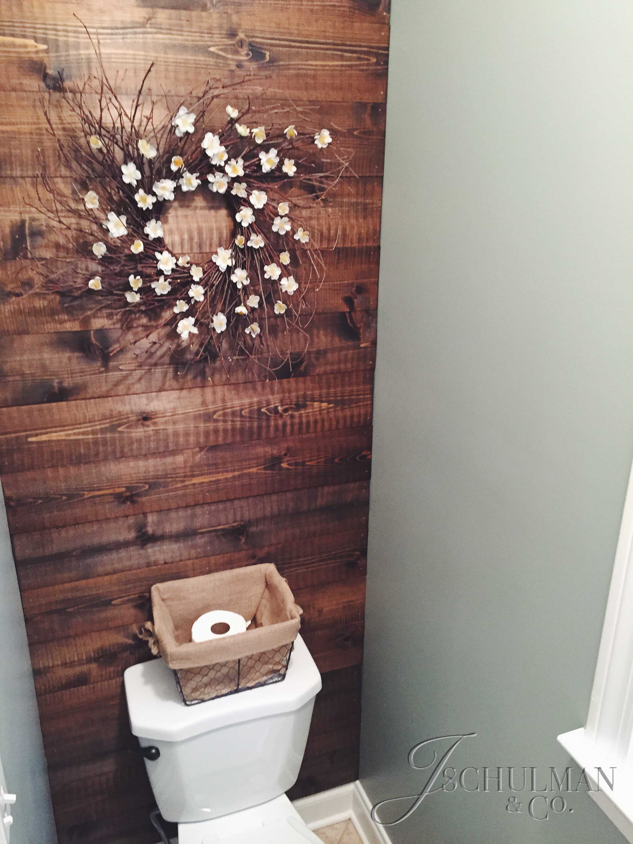 Diy wood panel bathroom accent wall j schulman co for Wood panelling bathroom ideas