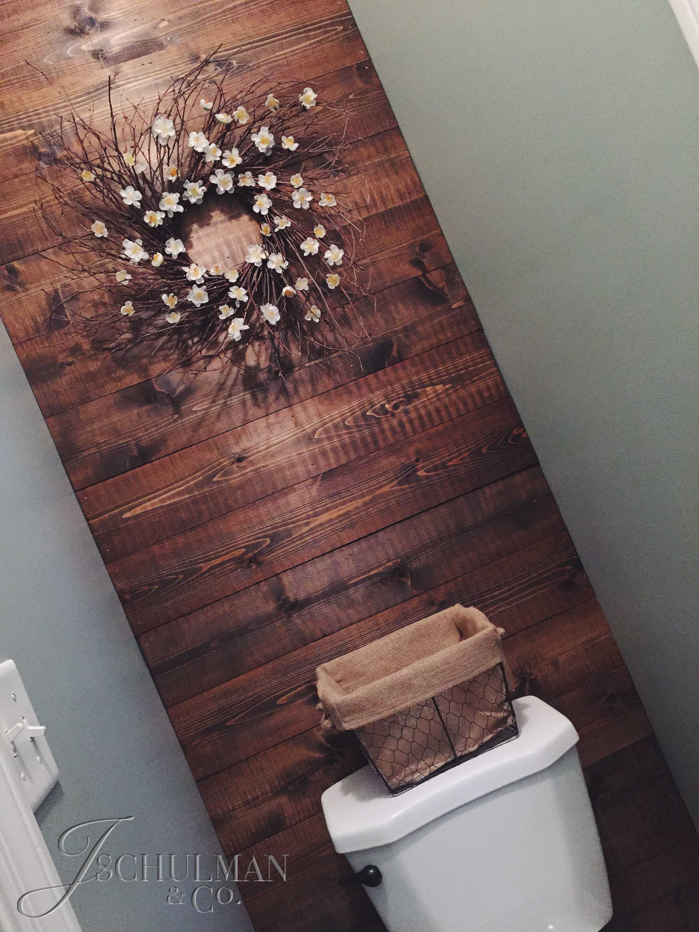 Diy wood panel bathroom accent wall j schulman co for Pallet shower wall