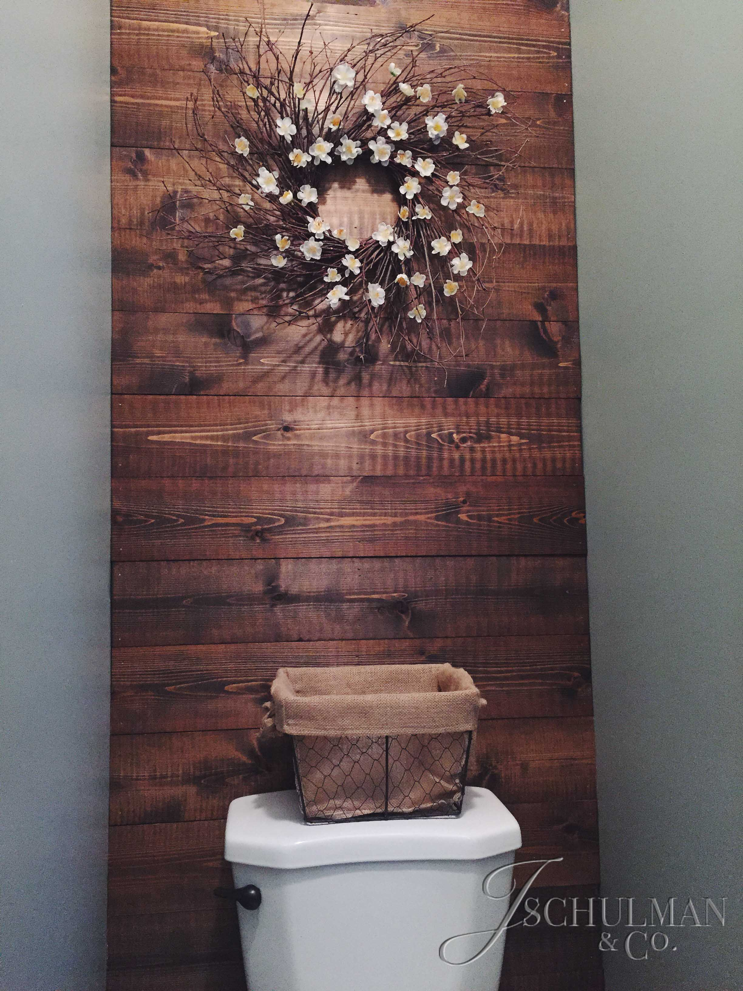 Diy wood panel bathroom accent wall j schulman co Bathroom designs wood paneling
